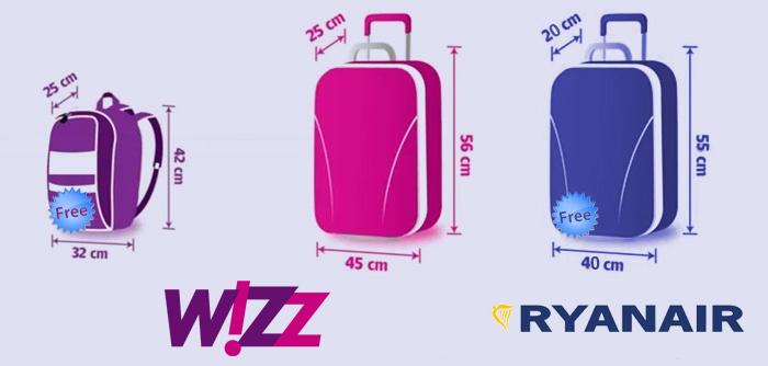 Porównanie bagażu podręcznego Wizz Air iRyanair
